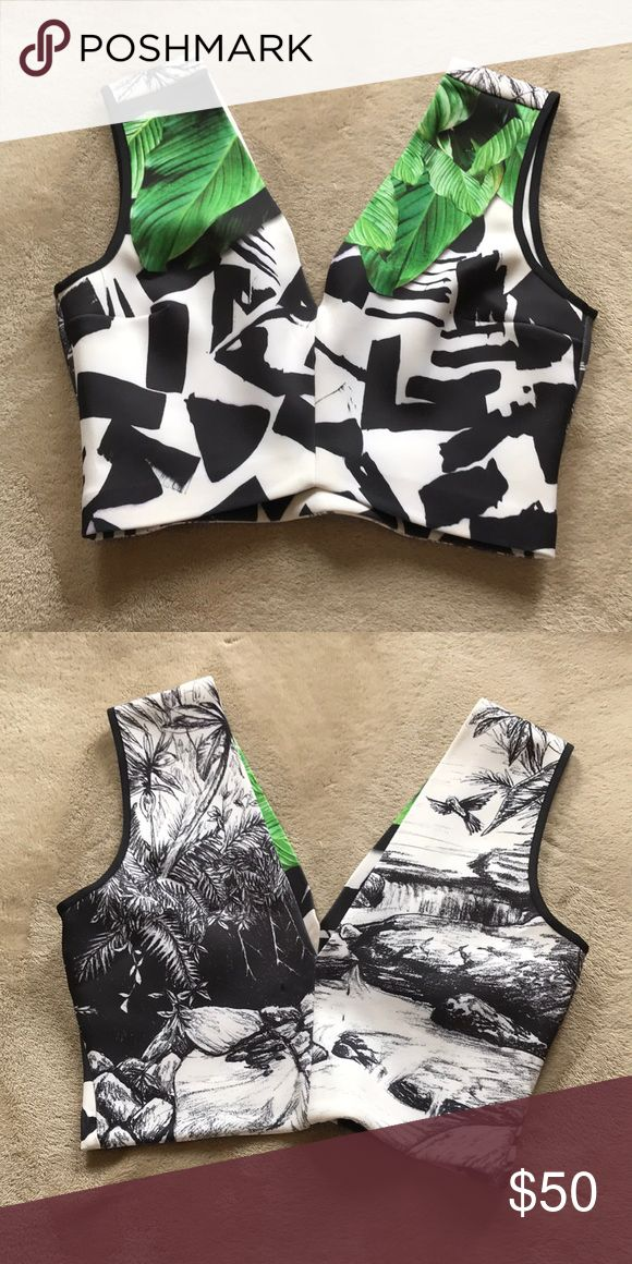 Green leaf detailed crop top Sophisticated / Fun green leaf image crop tool graphic black and white design on the front, black and white nature  illustration on the back. Would look super cute with high waisted black jeans. Never been worn. Clover Canyon Tops Crop Tops