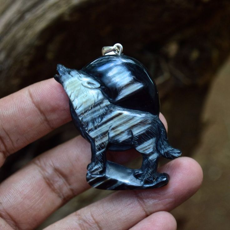 """Hand Carved Wolf 2.1"""" Natural Buffalo Horn Carving Pendant 925 Silver BH 3371 #Handmade #Pendant"""