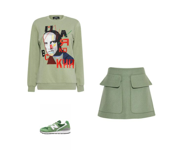 Casual Monday: Katya Bobryakova sweatshirt, I'M STUDIO skirt, New Balance sneakers