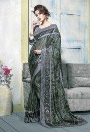 Black Color Amazing Embroidered Georgette Fabric Designer Saree