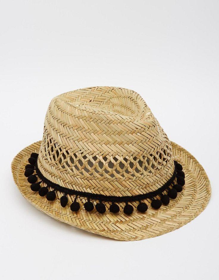 Reclaimed Vintage Straw Fedora Hat with Pom Pom Trim