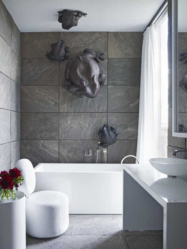 """White and Taupe Tiled Bathroom with Bronze Frogs - Design With Courage, A Review Of """"Simplicity"""" By Nancy Braithwaite 