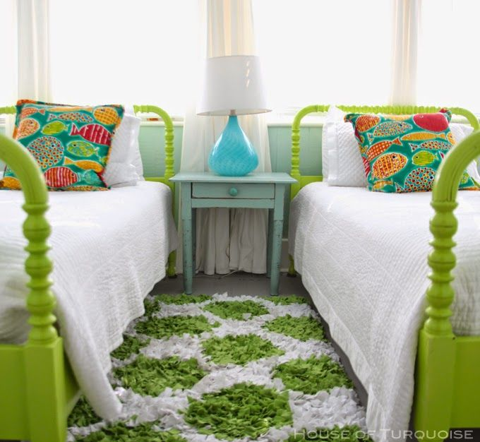painted twin beds bright green via House of Turquoise: Southern Tides - Tybee Island, Georgia - Part 2