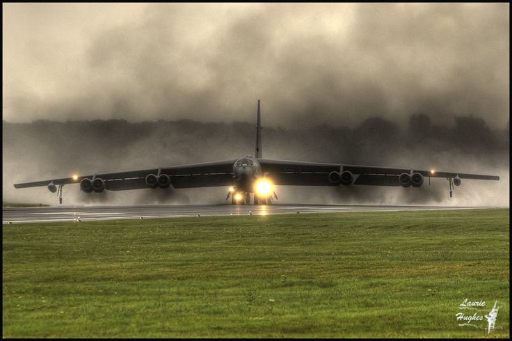 B-52 Stratofortress. So much noise, you feel the power of the engines as they scream moving through the gap, and on to the runway.