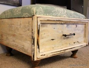 Old drawer with cushion for foot stool-has lift up cushion for storage underneath by IcSrC