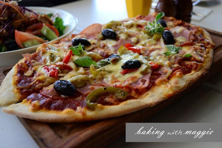 baking with maggie: blackbird cafe. supreme pizza.