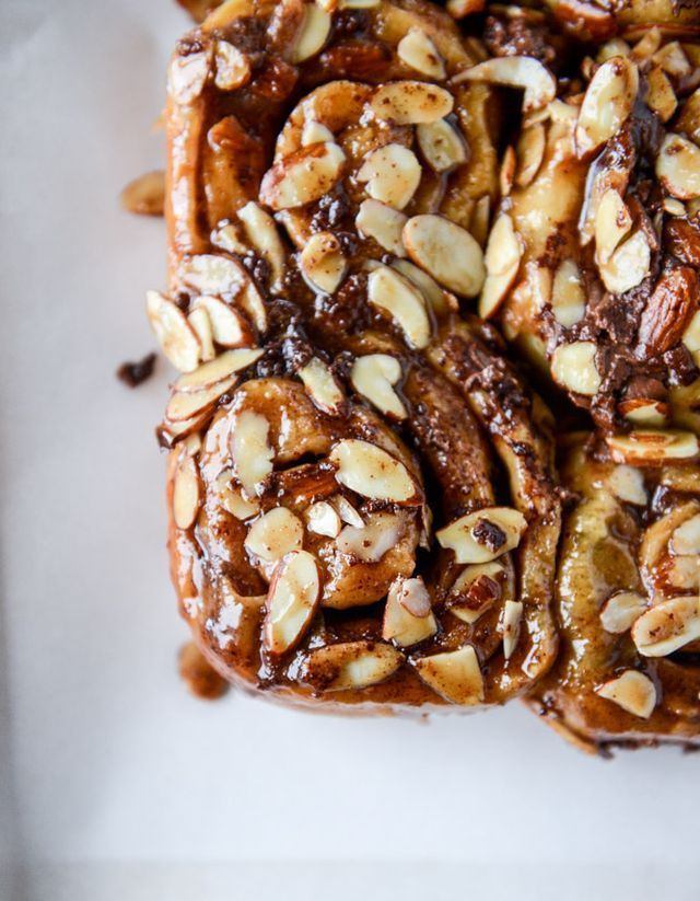Nutella Sticky Buns with Toasted Almonds and Nutella Caramel.