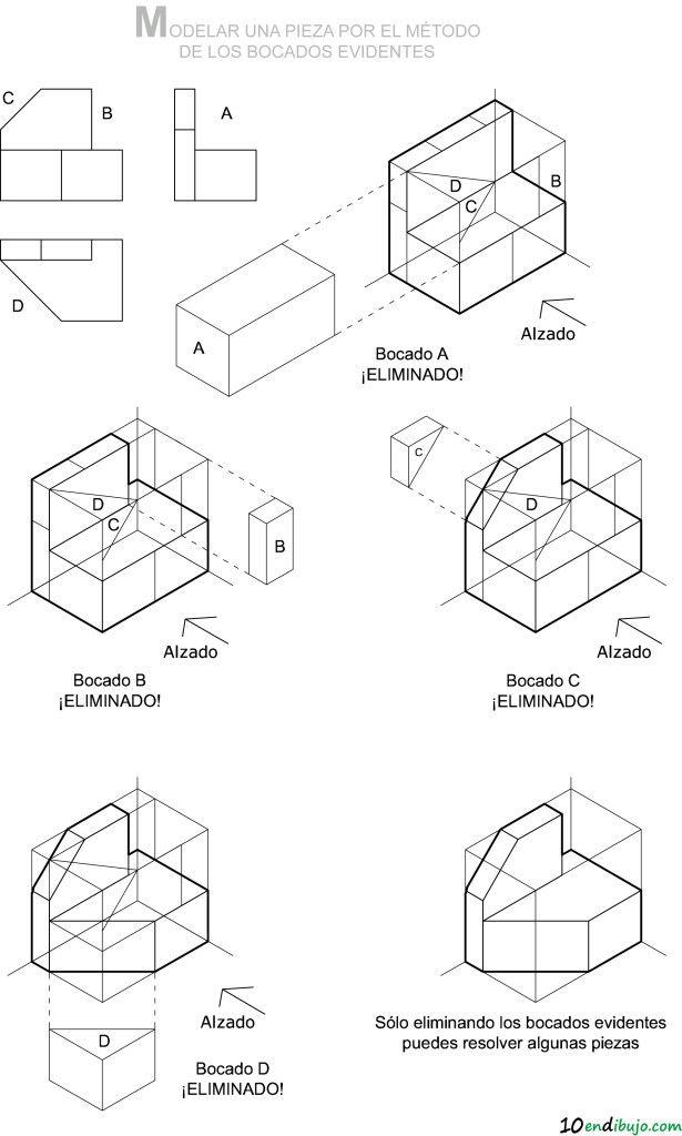 7 pasos llenos de trucos para resolver una pieza en perspectiva caballera e isométrica a partir de sus vistas | 10endibujo