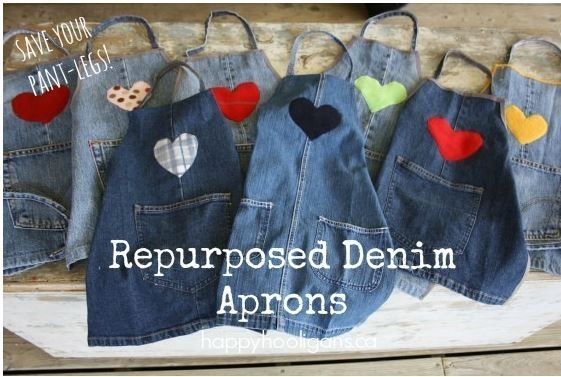 Denim Craft or Cooking Apron Made from Old Jeans by phoebe