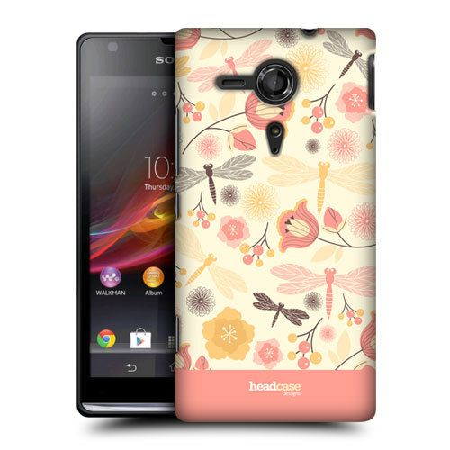 Head Case lemon Chiffon DragonFly Hard Back Case Cover for Sony XPeria SP