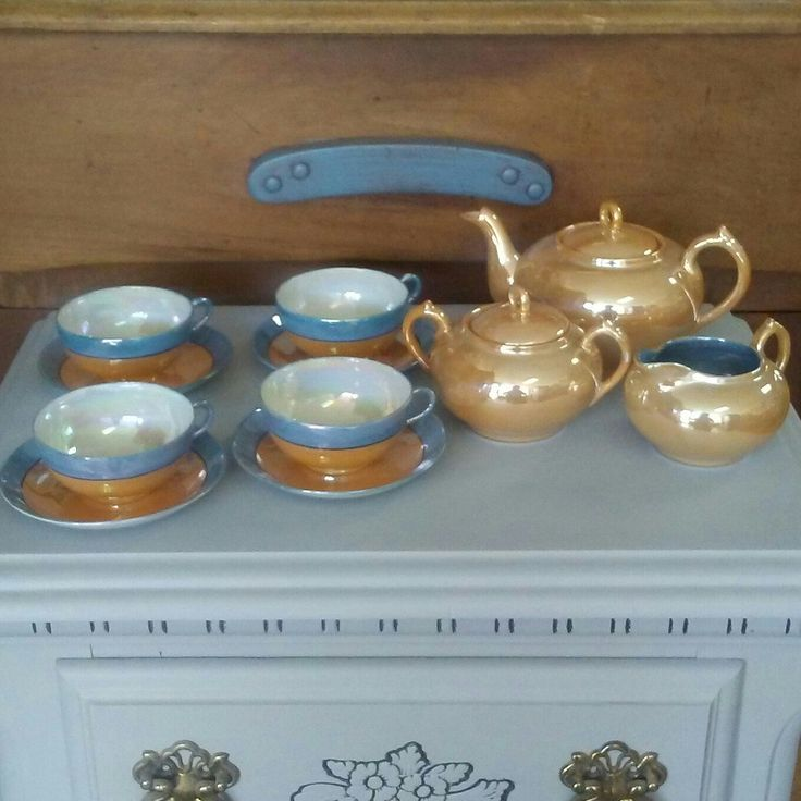 Beautiful lusterware tea set for sale at Frugal Fortune in our online Etsy shop. USA