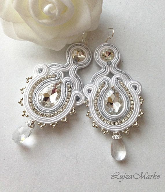 White wedding soutache earrings