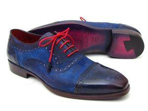 Paul Parkman Men's Captoe Oxfords Blue Suede (ID#024)