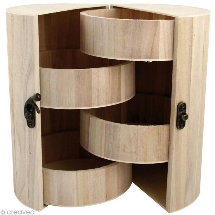 Boîte à bijoux pliante en bois à décorer - 21 cm                                                                                                                                                                                 Plus