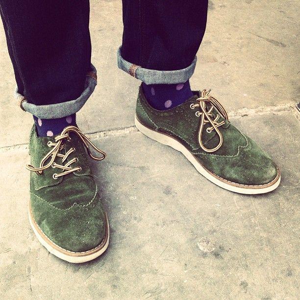 : Polka Dots, Clothing, Dots Socks, Green Su, Green Dots Cuffs Lov, Men Fashion, Men Shoes, Suede Shoes, Everyday Shoes