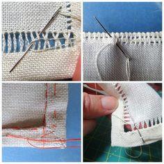 мережка вышивка обработка края салфетки мастер-класс