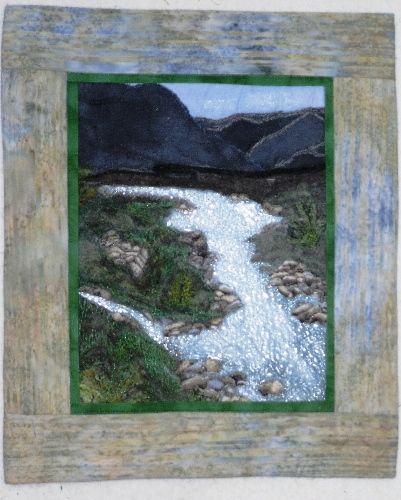 Qulted Picture including felted embellishments and 3 D River
