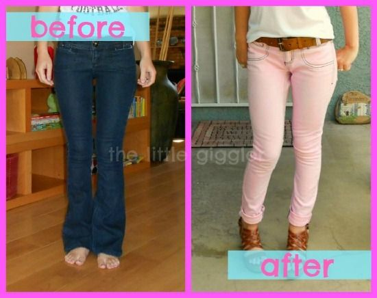 DIY pastel jeans.. uhm.. GENIUS...thus girl took old dark flared jeans... and