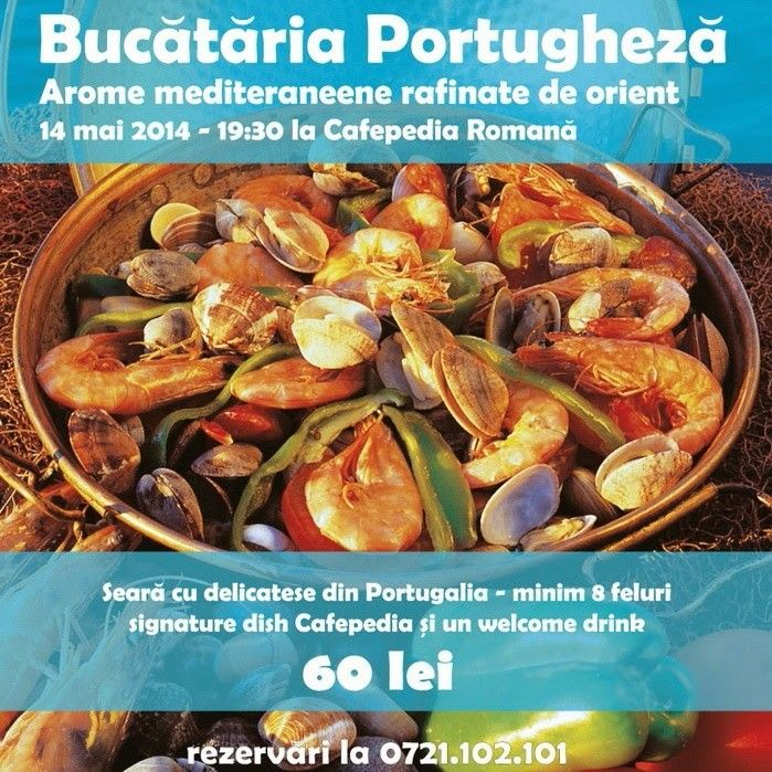Miercuri, 14 mai, ora 19:30, Cafepedia Romana a pregatit o seara cu Bucate Unicate din Portugalia! Bufetul va fi unul de tip bufet suedez cu 8 feluri de mancare (aperitive, feluri principale), desert, si un welcome drink la un pret unic: 60 lei.