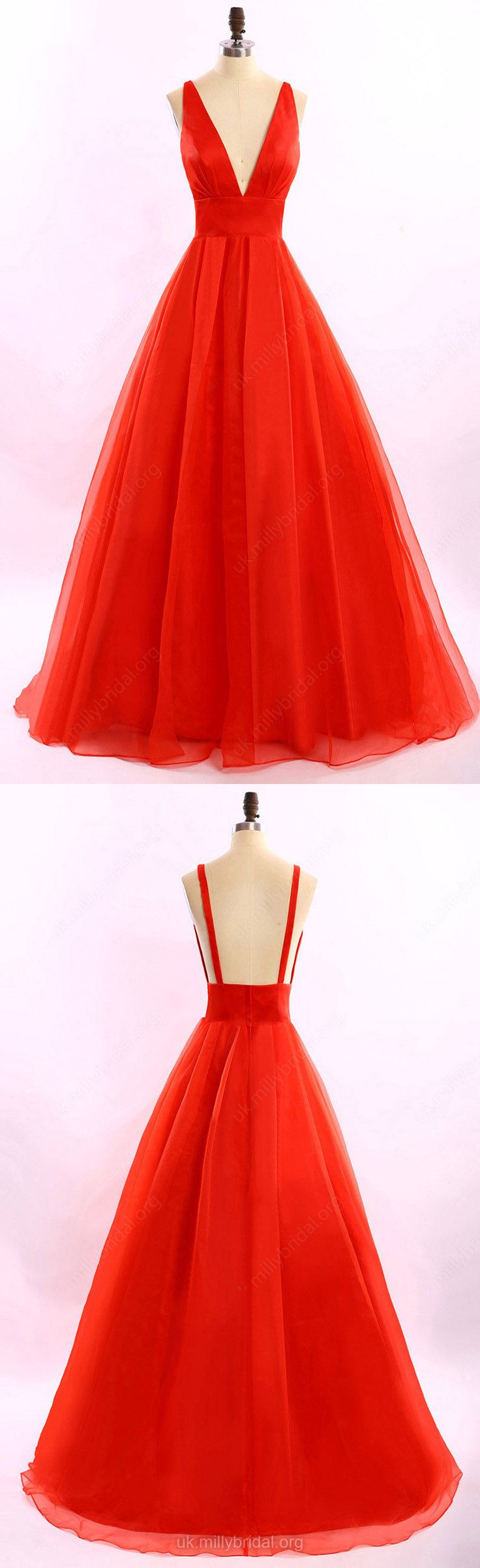 Ball Gown Prom Dresses,Long Prom Dresses 2018,V-neck Prom Dresses Red, Organza Ruffles Prom Dresses Open Back, Classic Prom Dresses For Girls #ballgowns