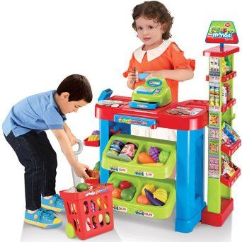 (SPM-2) Supermarket Playset Food Stall Kids Role Play Kitchen Game Set -deAO®: Amazon.co.uk: Toys & Games