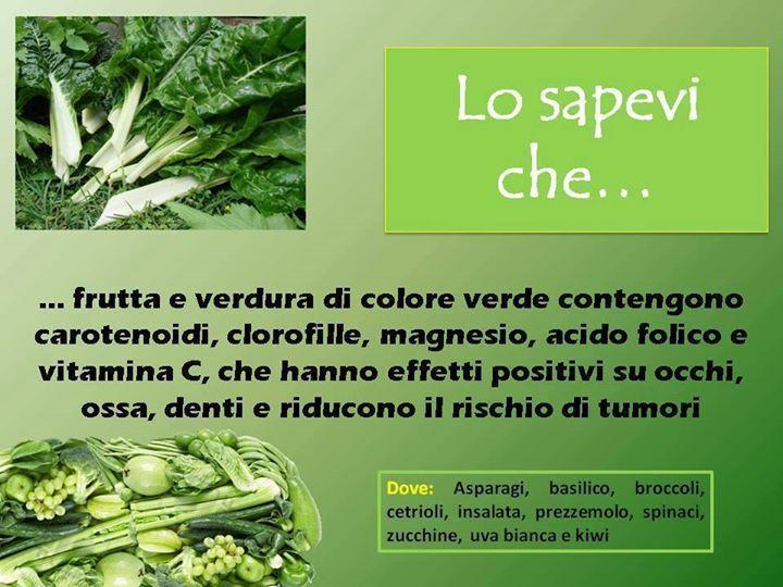 Frutta e verdura di colore verde