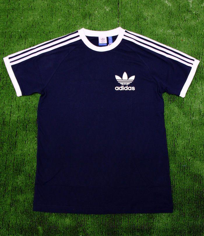 343f7e0b40d Adidas Originals - Retro Old Skool 3 Stripe Trefoil T-Shirt in Navy   XS