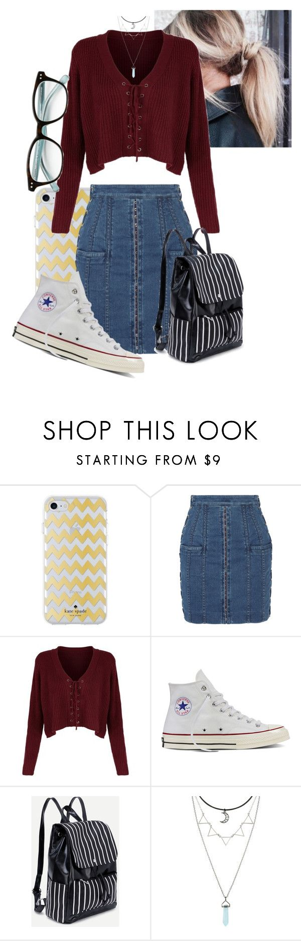 """""""Untitled #144"""" by millanj-fashion on Polyvore featuring Kate Spade, Balmain and Converse"""