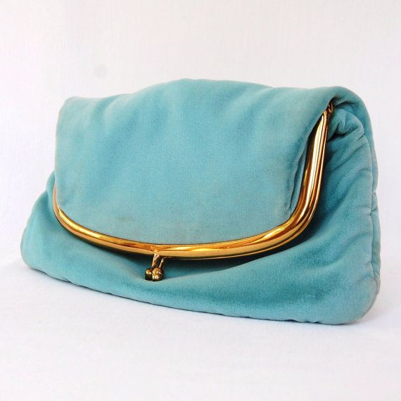 Vintage 1940s Baby Blue Velvet Clutch by by NevermoreVintage
