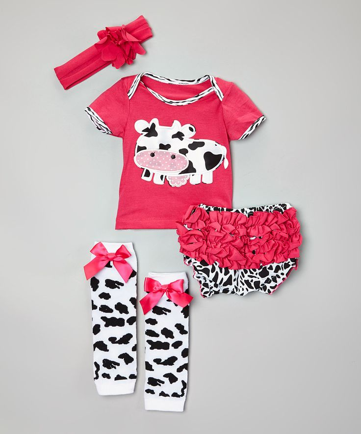 Look at this #zulilyfind! Hot Pink Cow Tee Set - Infant by Baby Gem #zulilyfinds