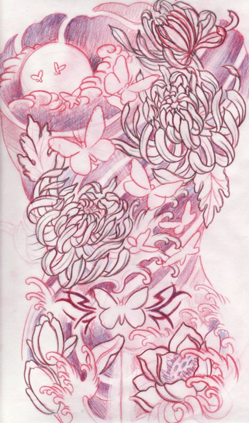 full back tattoo sketch flowers sky water http://tattooesque.com