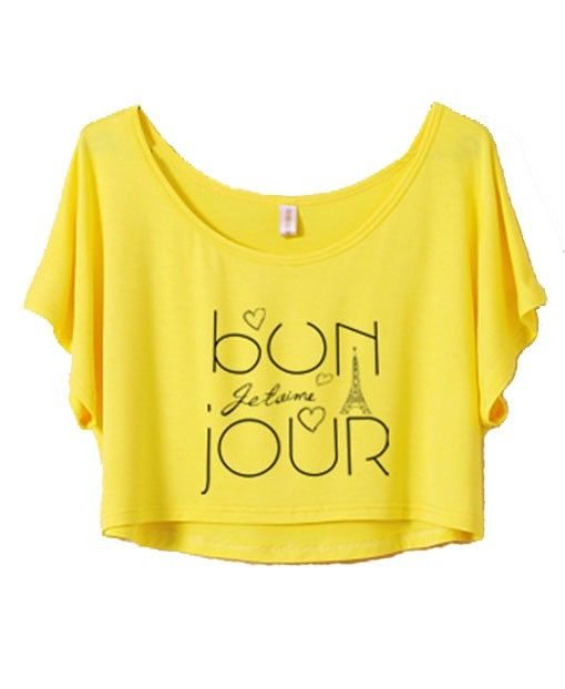 'bonjour' Cropped T-shirt Top