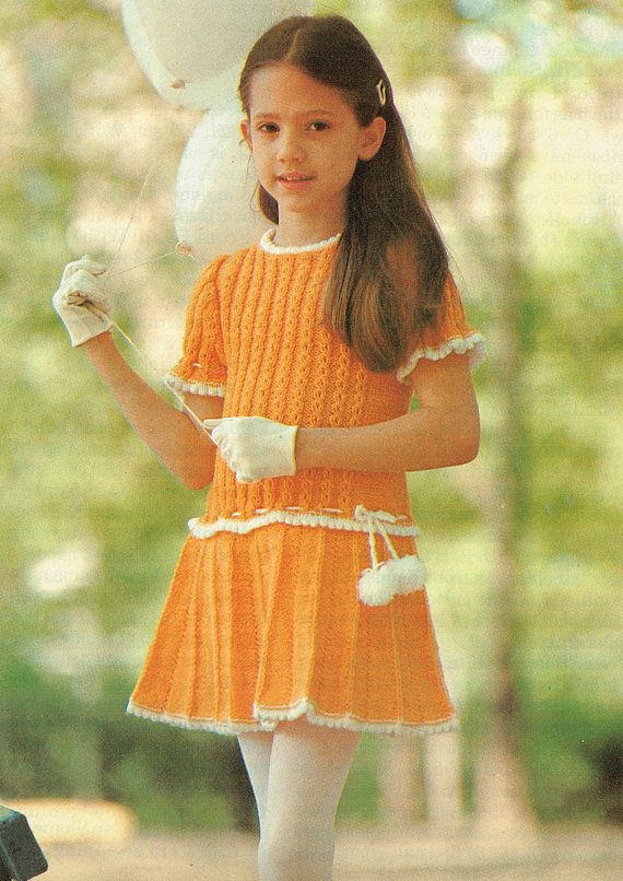 PDF Vintage Girl Dress Knitting Pattern YELLOW Pleated Skirt