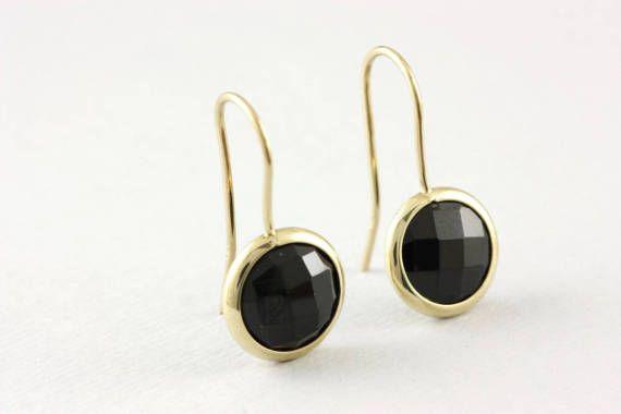 Black onyx earrings, 14K gold earrings, natural gemstones, anniversary gift, earrings for girlfriend, minimalist, AE016