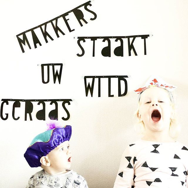 "Sing...as loud as you can!! Cause you might get a bigger present then! (Just love the cute little face by her babybrother: ""what the heck is she singing this loud for""??! ) #sinterklaas #wordbanner #diywordbanner #alittlelovelycompany #letterslinger"