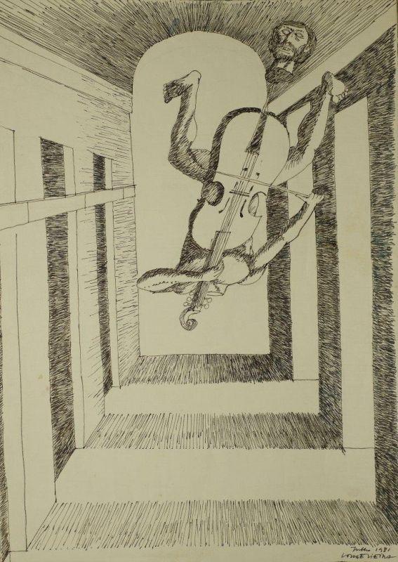 Sem Titulo 169)11 1981 Chinese Ink x Paper 41,8cm x29,8cm #JorgeVieira #sculpture #SaoMamede #art #drawings #visit #lisbon #gallery