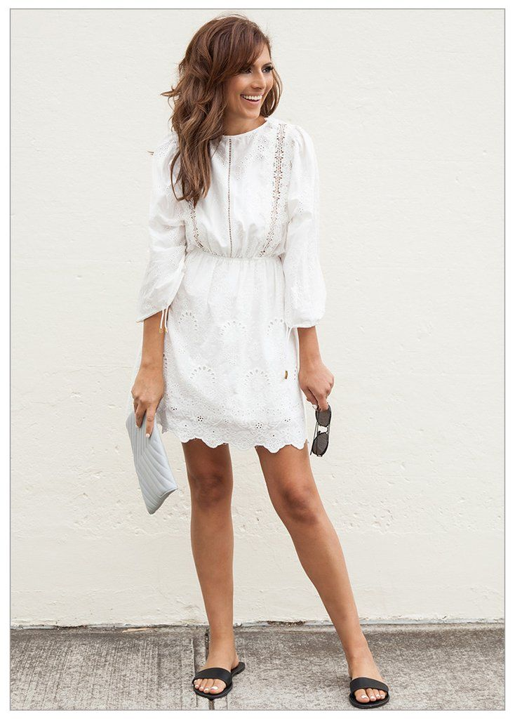 DREAMING OF ST BARTS DRESS #CLOTHING beach white broiderie dress, open back $119.95