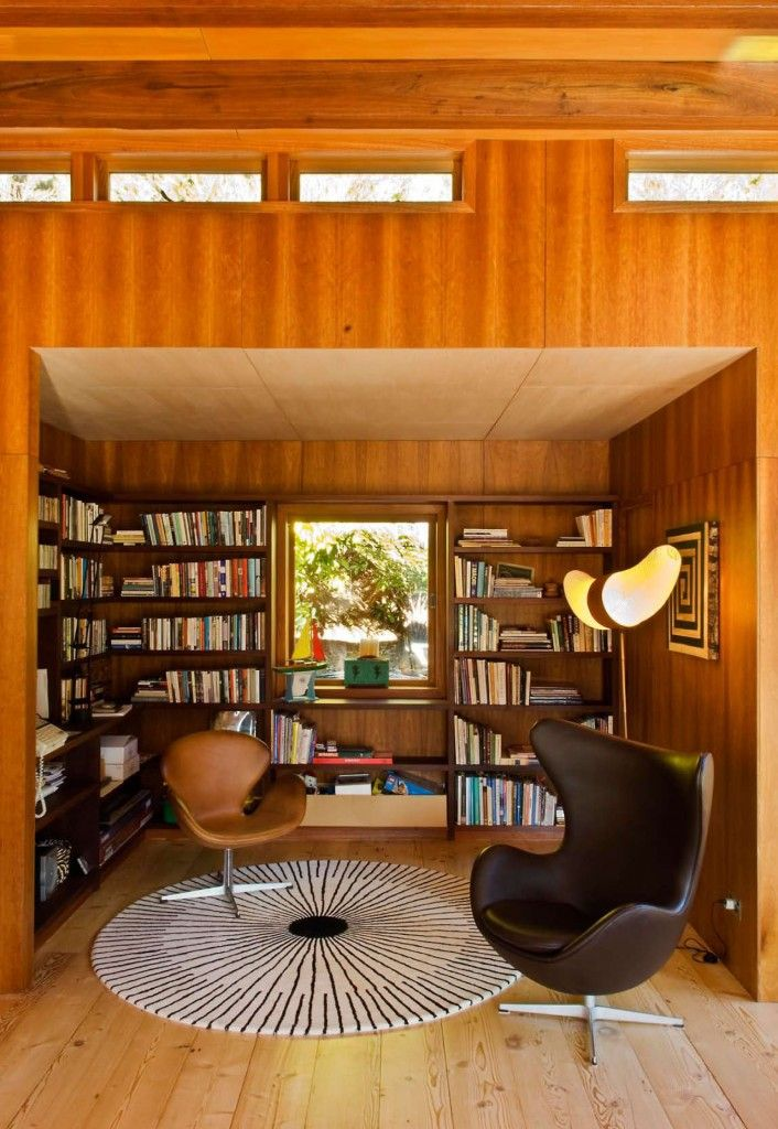 StudyDreams Libraries, Study Nooks, Bays House, Book Nooks, Waterfall Bays, Waterfal Bays, Reading Nooks, Mid Century Design, New Zealand