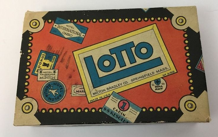 Vintage Lotto Game Milton Bradley Bingo Cards Wooden Numbers Steamer Trunk #MiltonBradley