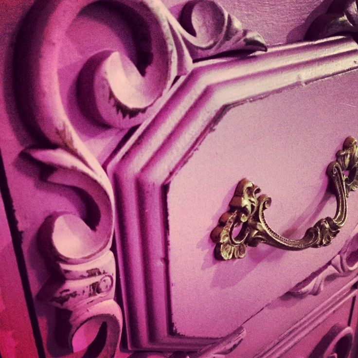 Pantone's color of the year Radiant Orchid on a dramatic vintage dresser with Webster's Chalk Paint Powder added! DRAMA! www.studio11boutique.com