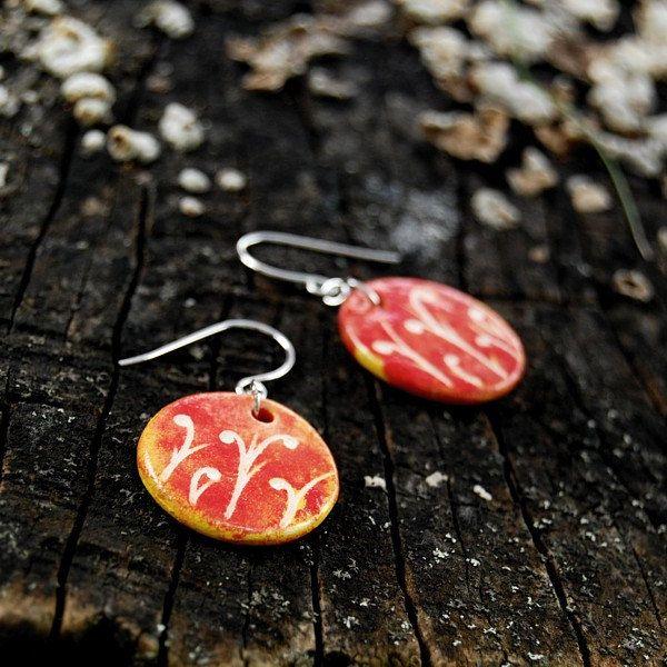 Orange blossom, Ceramic jewelry earrings - flower motif by Brekszer on Etsy