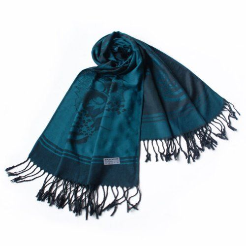 Pa-615-4 Dark Green Base Flower Patterns Elegant Super Soft Woven Tassel Ends Pashmina/Shawl/Scarve Blancho Pashmina. $14.99. Like an aesthetic art,it is a perfect and suitable accessory with any outfit. luxurious silky soft and comfortable, and lightweight. Chic & distinctive pattern, a sense of fashion and elegant, fringed at both ends of the pashmina. Pashmina measures 68 by 27 inches with 5 inches tassel, contains 55% pashmina and 45% silk. It is made from high-quality ma...