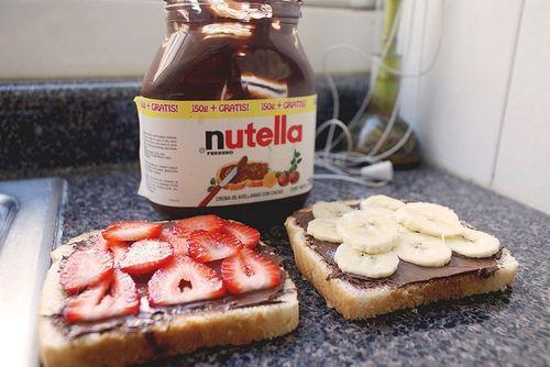Nutella Strawberry and Banana SandwichRecipe Dinner, Breakfast, Sweets Desserts, Snacks, Strawberries Bananas, Bananas Sandwiches, Peanut Butter, Comforters Food, Nutella