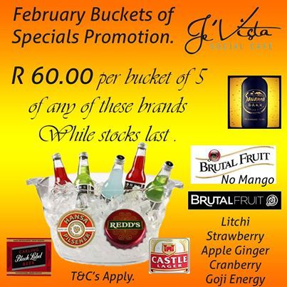 It's Wednesday and time to relax. So where do you go? Je'Vista Social Café Jeffrey's Bay of course! To enjoy the 5 in a bucket special with your friends. See you there tonight and don't forget the friends. Alcohol not served to persons under 18. #midweek #relax #specials