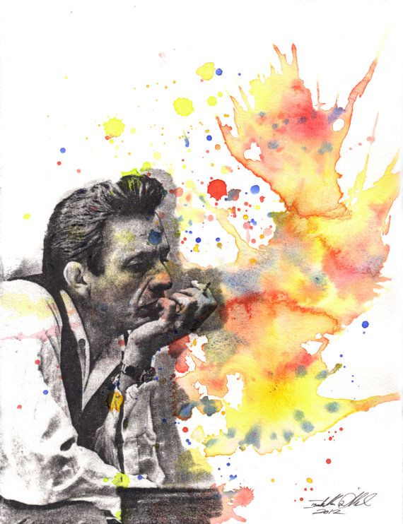 Johnny Cash Portrait Fine Art Poster Print From Original Watercolor Painting - 13 x 19 in Art Poster Print