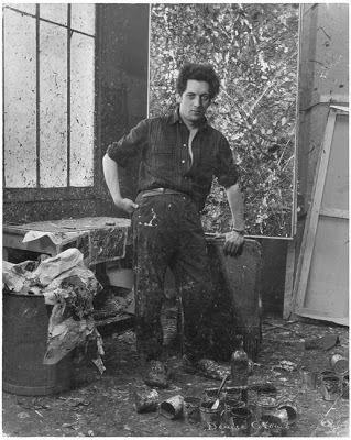 Jean-Paul Riopelle (Canadian: 1923-2002) - Denise Colomb, Jean-Paul Riopelle in his atelier, 1953.