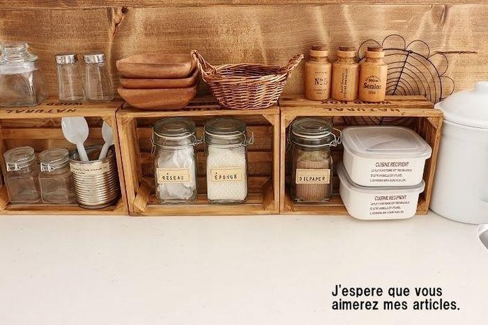 セリア等の100円ショップでもヴィンテージ加工の木箱がゲットできます。