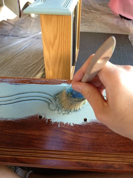 Dresser makeover using Duck Egg Blue chalk paint. How to and step by step.