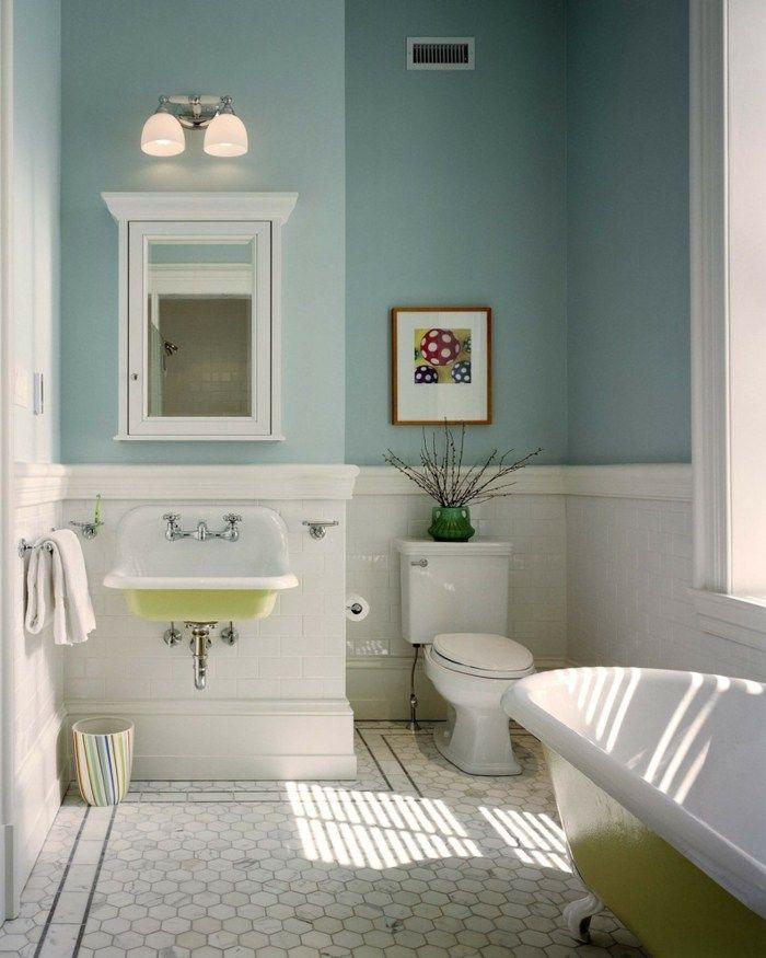 heller Raum Vintage Look Badezimmer Gestaltung Ideen