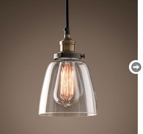 Love these vintage industrial pendant lights for the kitchen